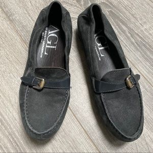 AGL Buckle suede slip on loafers